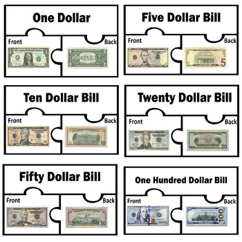 U. S. Coins and Dollar Bills Basic recognition match puzzle front and back sides