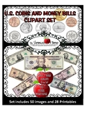 U.S. Coins and Paper Bills Currency CLIP ART SET w/ FREE M