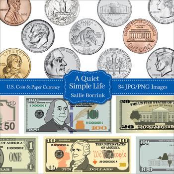 U S  Coins and Paper Currency Clip Art - U S  Money Clipart Bundle
