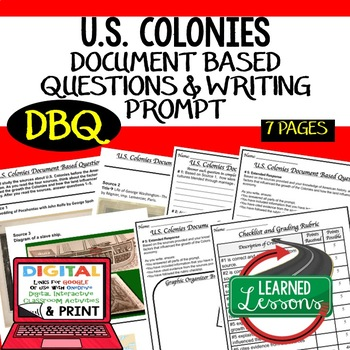 U.S. Colonies Document Based Questions & Writing Prompt wi