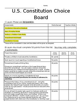 U.S. Constitution Choice Board (Layered Curriculum)
