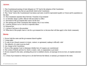 U.S. Constitution Crossword Puzzle Activity Worksheet