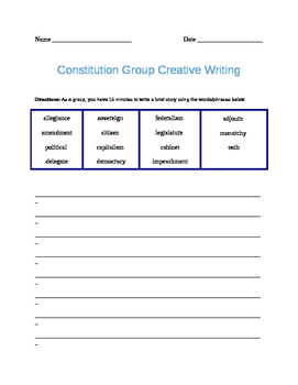 U.S. Constitution Group Creative Writing
