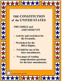 U. S. Constitution: Preamble and Bill of Rights Worksheets & Activity