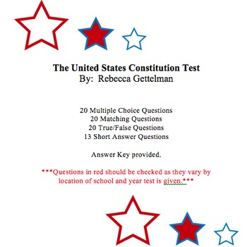 U.S. Constitution Test PLUS Bonus Elected Official Worksheet