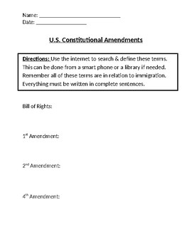U.S. Constitutional Homework Definitions