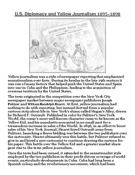 U.S. Diplomacy and Yellow Journalism Article with Summary Assignment