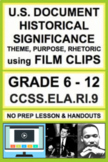 U.S. Document Analysis using Short Film: NO PREP Lesson Plan & Activities: RI.9