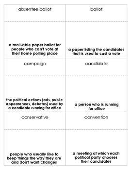 U.S. Elections Vocabulary Bingo