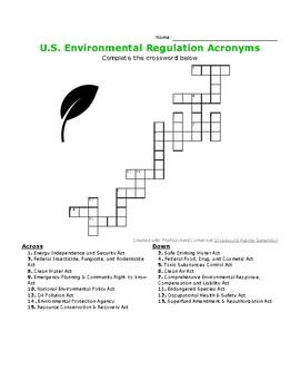 U.S. Environmental Regulation Acronyms Crossword Puzzle