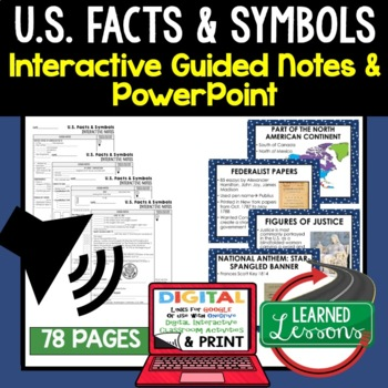 U.S. Facts and Symbols Guided Notes and PowerPoints, Google & Print
