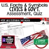 U.S. Facts and Symbols Quiz, Civics Assessment