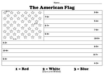 U.S. Flag Color by number - Subtraction
