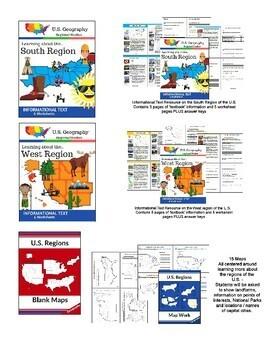 U.S. Geography BIG BUNDLE - Four Regions of the United States