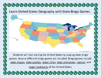 U.S. Geography Bingo: States, Capitals, Nicknames, Major Cities, Regions, more