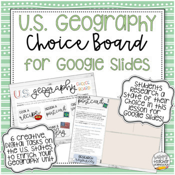 U.S. Geography Digital Choice Board for Google Slides - Distance Learning