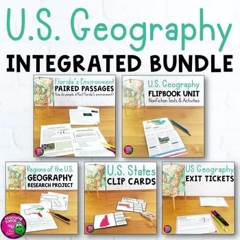 U.S. Geography & ELA Integrated Bundle: Reading, Writing & Social Studies
