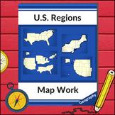 U.S. Geography - Map Work (Four Regions)