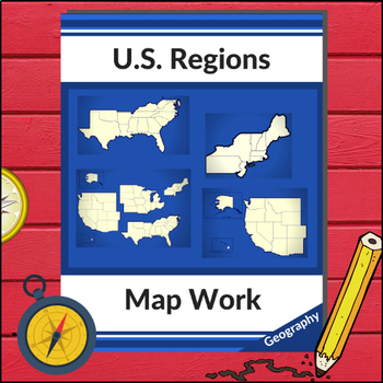 u s geography map work four regions