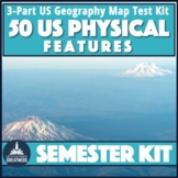US Physical Geography Map Test 3-Pack Bodies of Water and Landforms