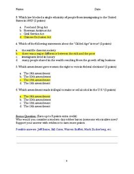 U.S. Gilded Age Test ANSWER KEY