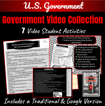 U.S. Government ~7 Videos and Corresponding Student Worksheets~