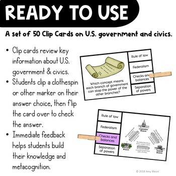 U.S. Government & Civics Pick 'n Flip Clip Cards Review Activity