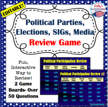 U.S. Government Review Game: Elections, Parties, SIGs, Vot