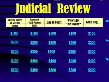 Judicial Branch Review Game: U.S. Government (editable)