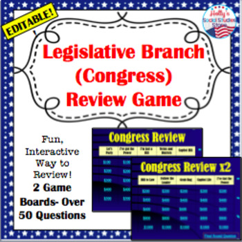 Legislative Branch Review Game: U.S. Government (editable)