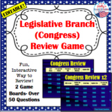 Legislative Branch (Congress) Review Game: U.S. Government (editable)