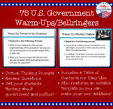 US Government Warm-Ups (Bellringers)- 1 Semester