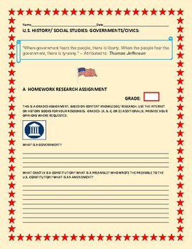 U.S. HISTORY/CIVICS/GOVERNMENTS HOMEWORK PROJECT: 12 PAGES