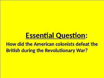 U.S. HISTORY UNIT 2 LESSON 3: The American Revolution POWERPOINT
