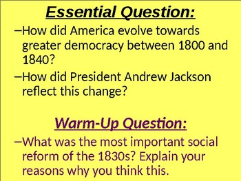 U.S. HISTORY UNIT 4 LESSON 3: Age Of Andrew Jackson POWERPOINT