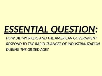 US HIS UNIT 7 LESSON 5 Gilded Age: Labor Unions & Politics POWERPOINT