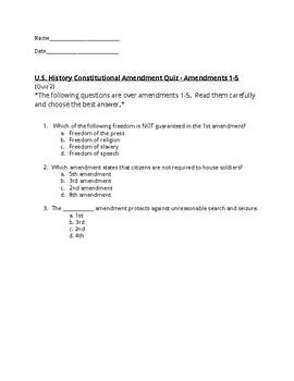 U.S. History - Amendments 1-5 Quiz 2