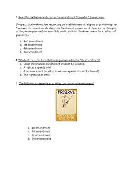 U.S. History- Amendments 1-5 Quiz