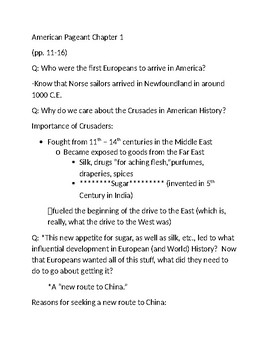 U.S. History Chapter 1 Lecture Notes