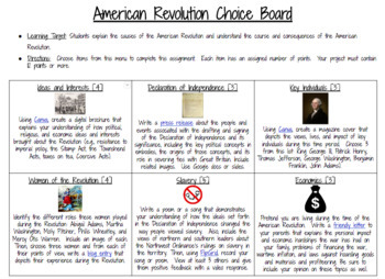 U.S. History Choice Board Bundle