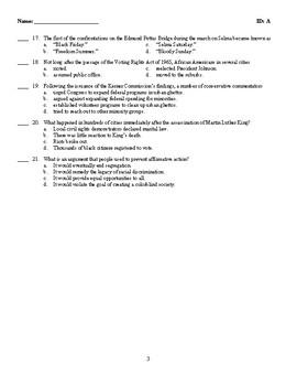 U.S. History - Civil Rights Test (1954-1970)
