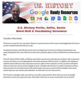 U.S. History Classroom Word Wall Roots, Prefixes, Suffixes   Google Ready