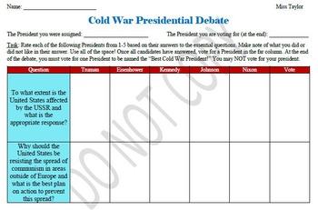 U.S. History- Cold War Presidential Debate