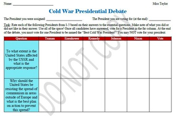 U.S. History- Cold War Presidential Debate