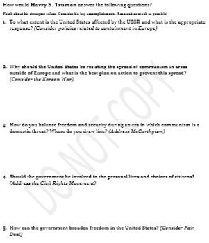U.S. History- Cold War Presidents Handout