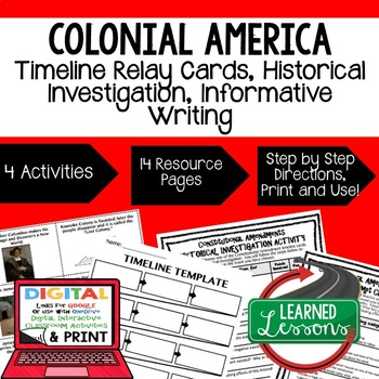 U.S. History Colonial Era Timeline & Writing Activities Paper & Google Drive