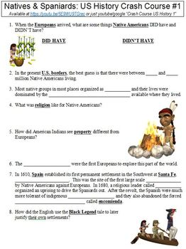 Crash Course U.S. History #1 (Natives & Spaniards) worksheet