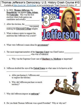 U.S. History Crash Course #10 (Thomas Jefferson's Democracy) worksheet