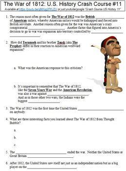 U.S. History Crash Course #11 (The War of 1812) worksheet