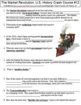 U.S. History Crash Course #12 (The Market Revolution) worksheet